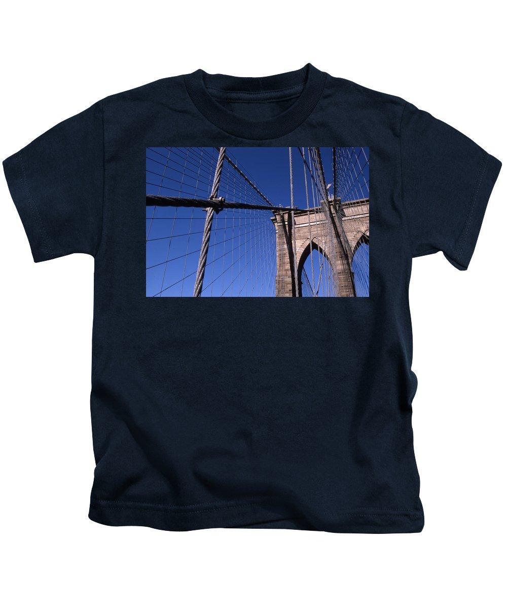 Landscape Brooklyn Bridge New York City Kids T-Shirt featuring the photograph Cnrg0405 by Henry Butz