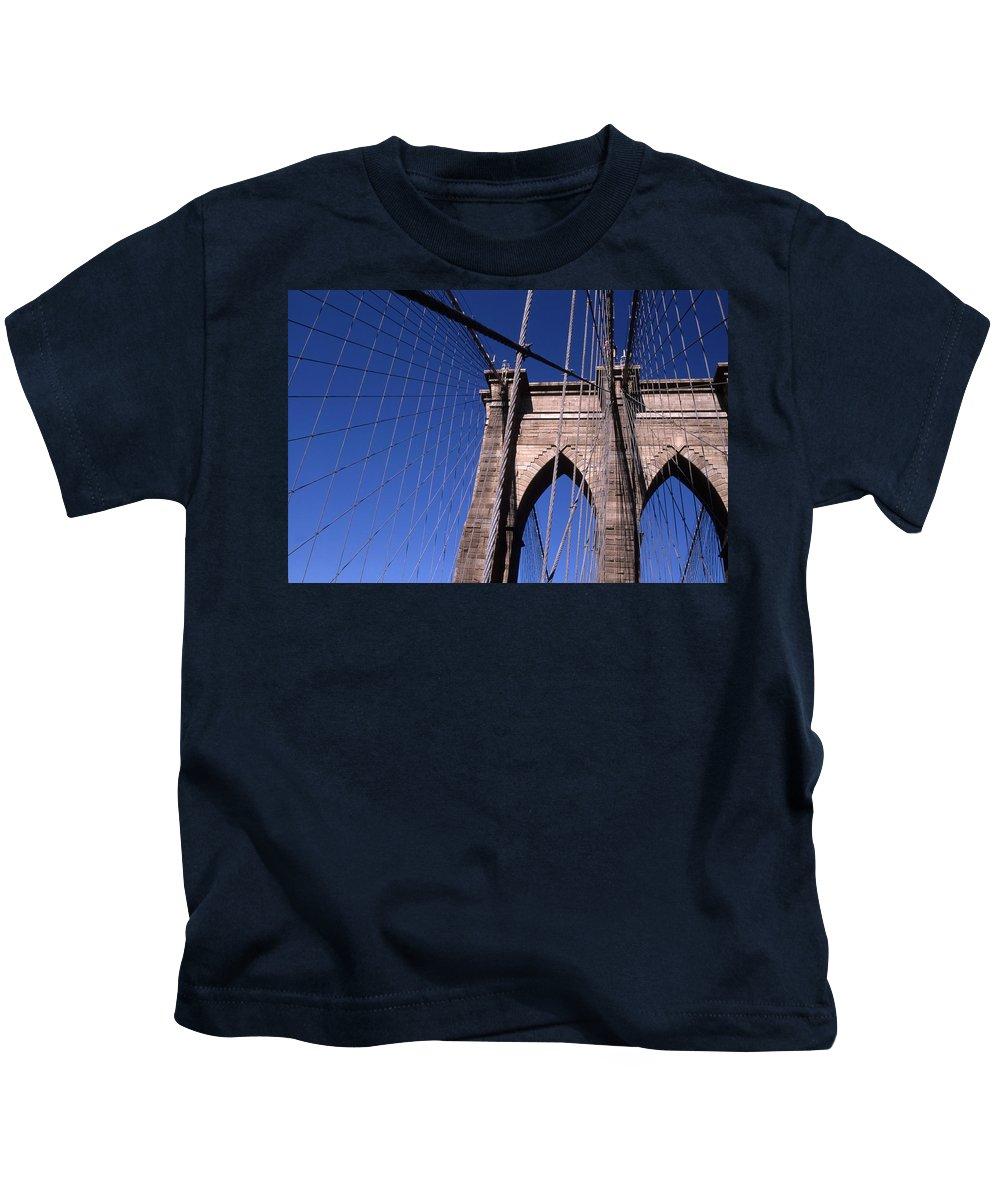 Landscape Brooklyn Bridge New York City Kids T-Shirt featuring the photograph Cnrg0406 by Henry Butz