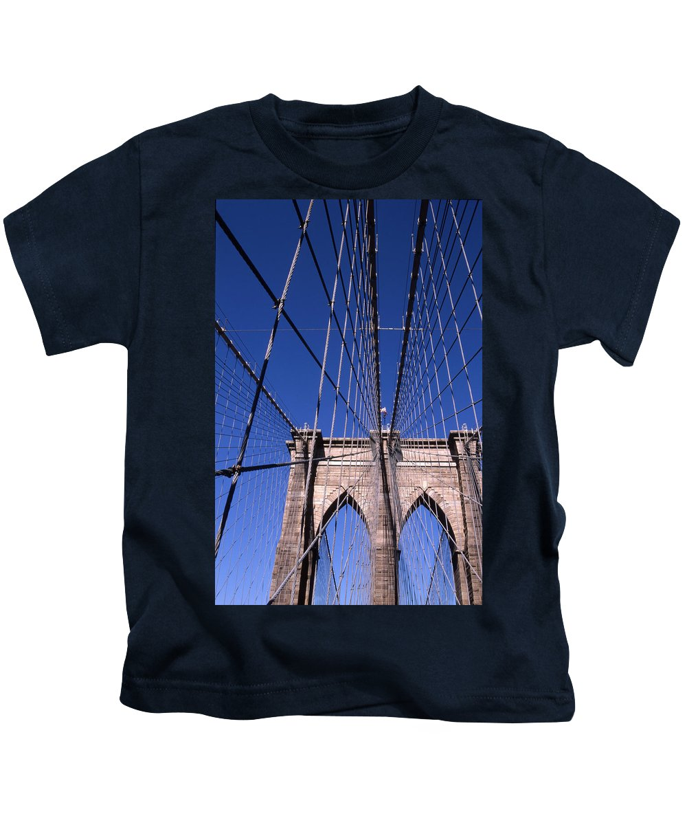 Landscape Brooklyn Bridge New York City Kids T-Shirt featuring the photograph Cnrg0407 by Henry Butz