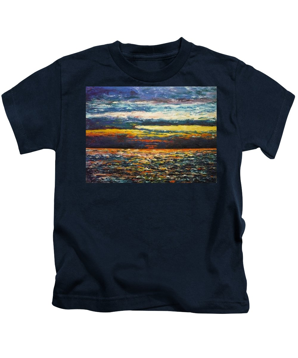 Landscape Kids T-Shirt featuring the painting Cold Sunset by Ericka Herazo