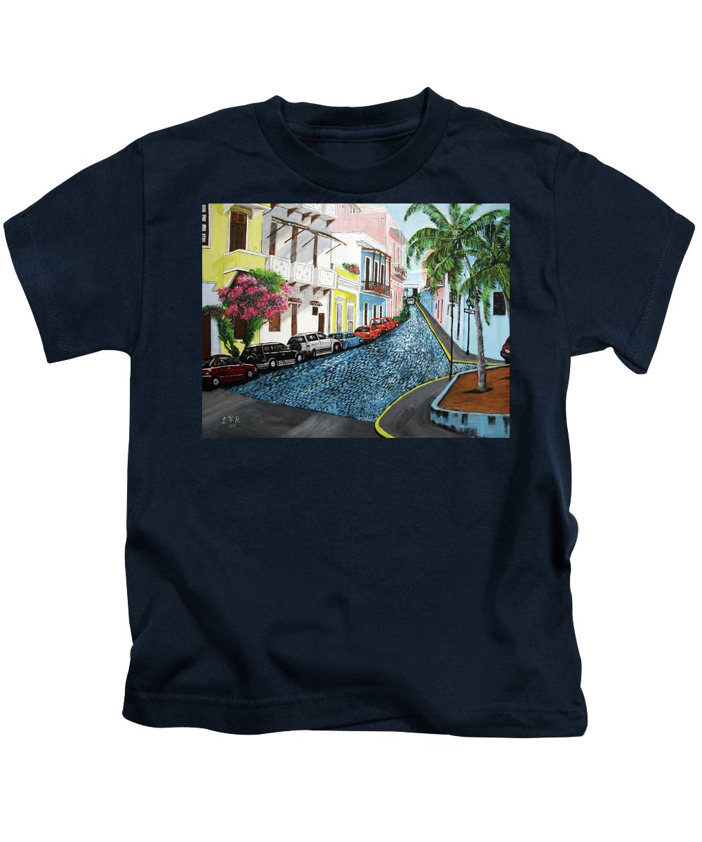 Old San Juan Kids T-Shirt featuring the painting Colorful Old San Juan by Luis F Rodriguez