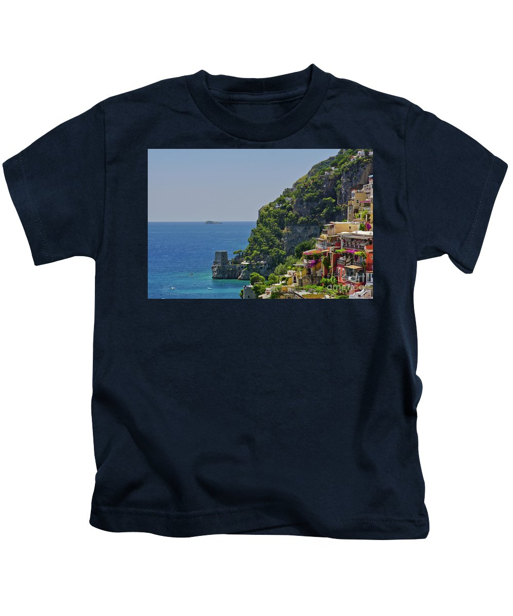 Positano Kids T-Shirt featuring the photograph Colorful Positano by Brian Kamprath