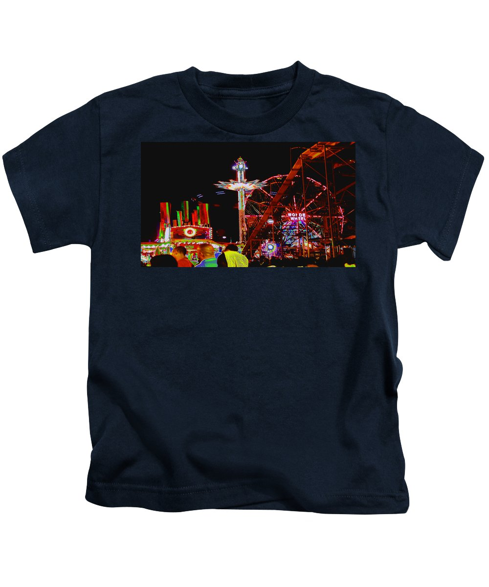 Coney Island Kids T-Shirt featuring the photograph Coney Island Opening Day In Brooklyn New York by Kendall Eutemey