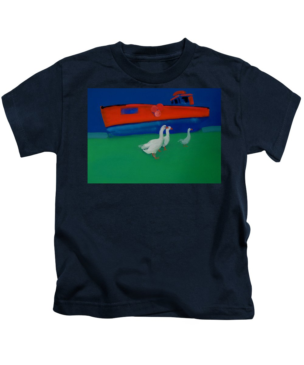Geese Kids T-Shirt featuring the painting Cool And Dry by Charles Stuart