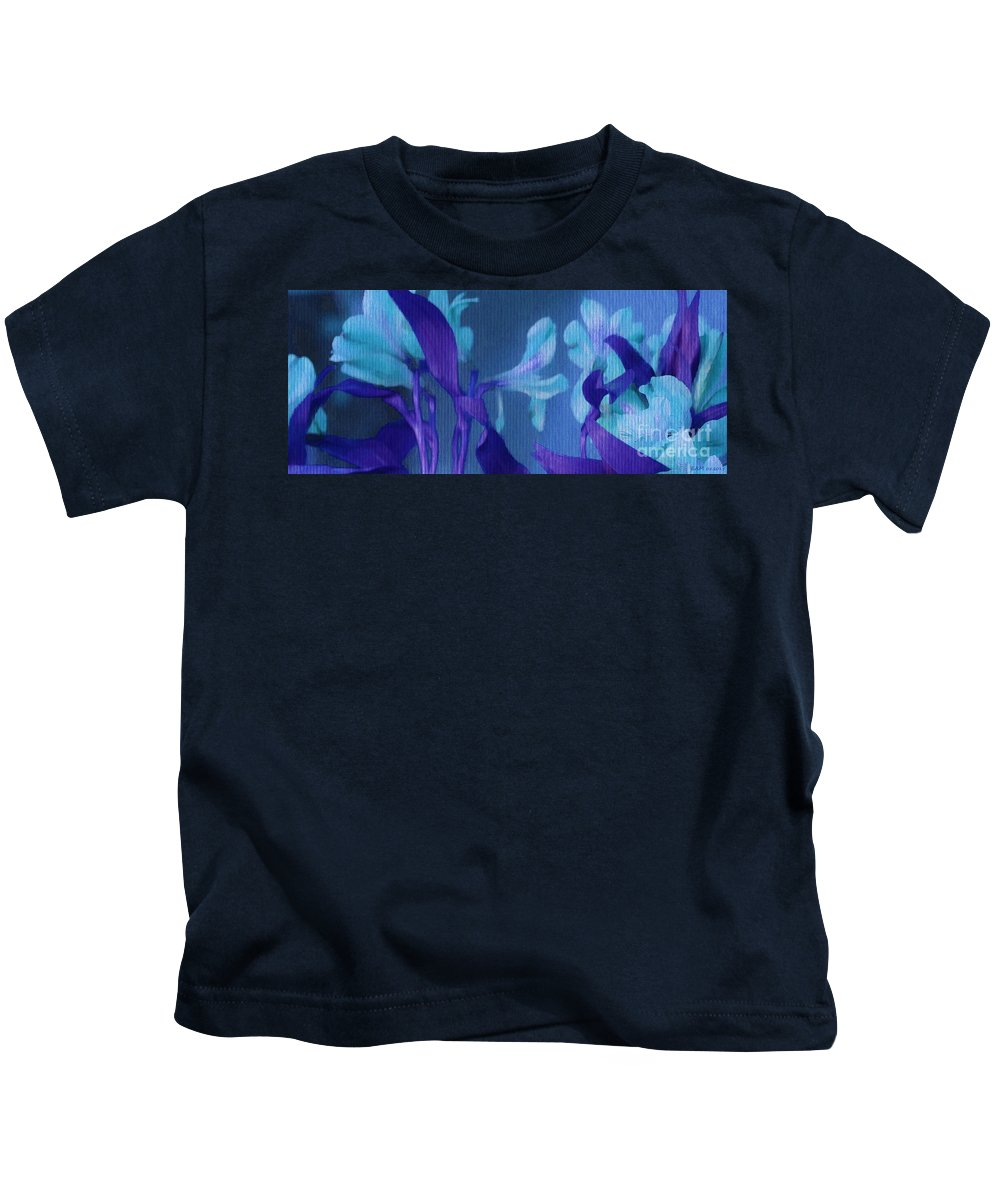 Cool Blue Lilies Kids T-Shirt featuring the digital art Cool Blue Lilies by Elizabeth McTaggart