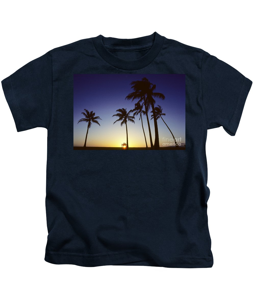 Beach Kids T-Shirt featuring the photograph Couple And Sunset Palms by Carl Shaneff - Printscapes