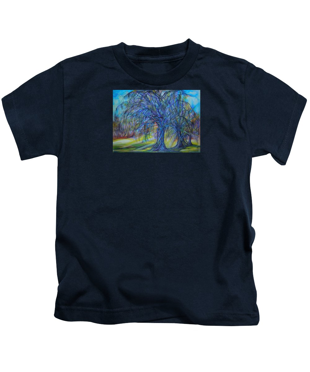 Blue Kids T-Shirt featuring the drawing Crystal Light by Anna Duyunova