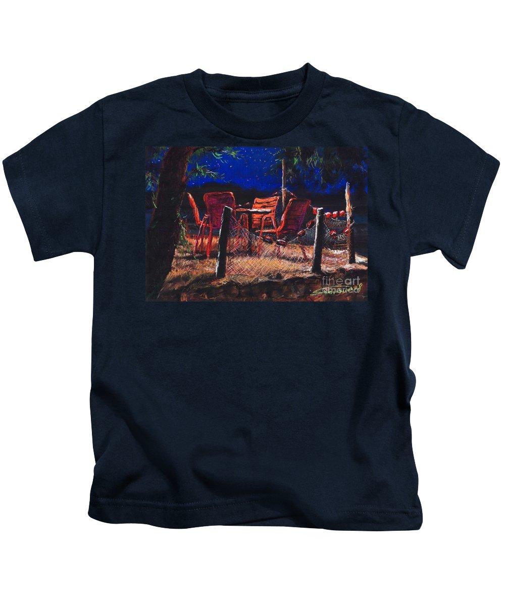 Pastel Kids T-Shirt featuring the painting Croatia Fisherman Restaurant by Yuriy Shevchuk