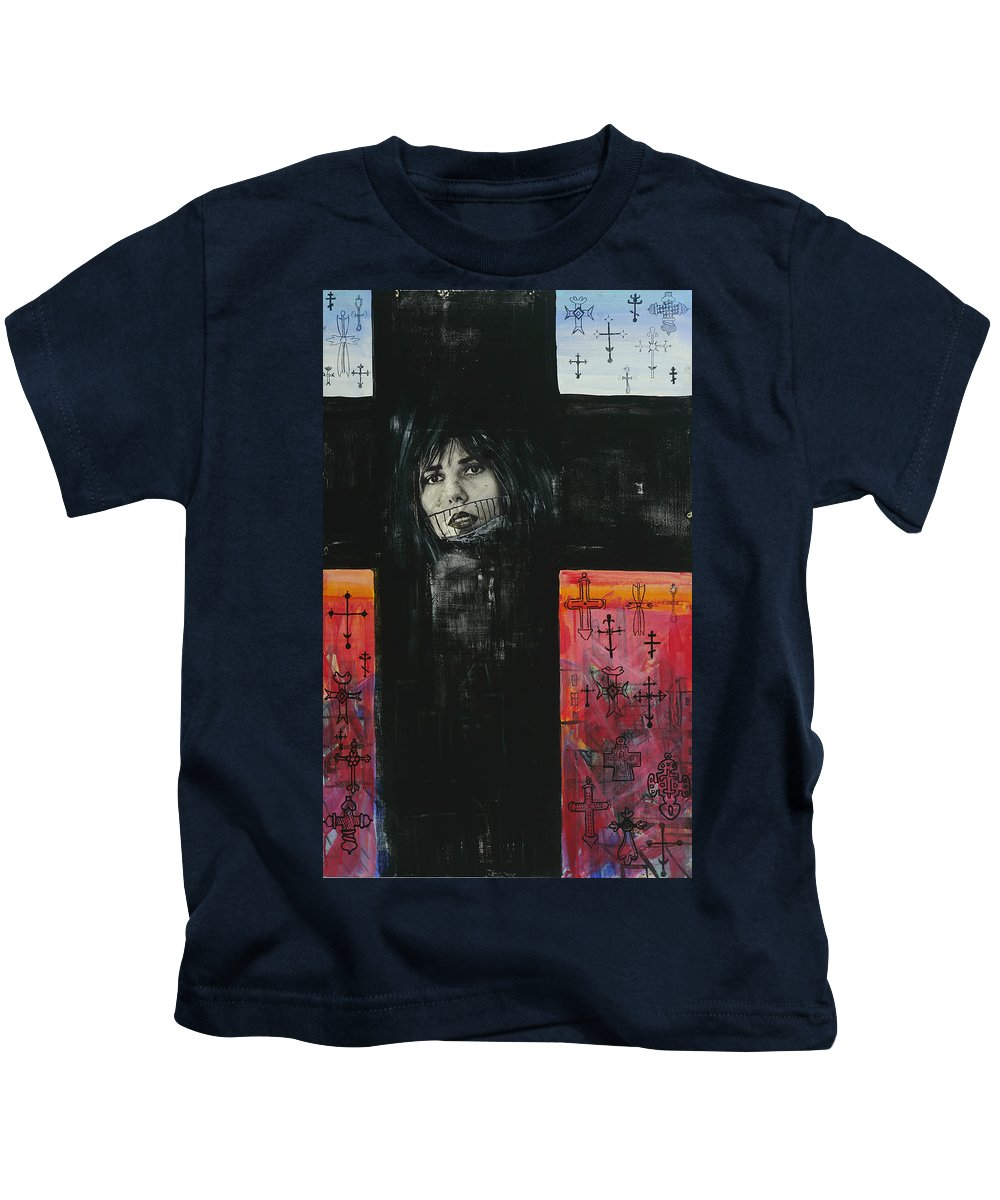 Cross Kids T-Shirt featuring the painting Crossroad by Yelena Tylkina