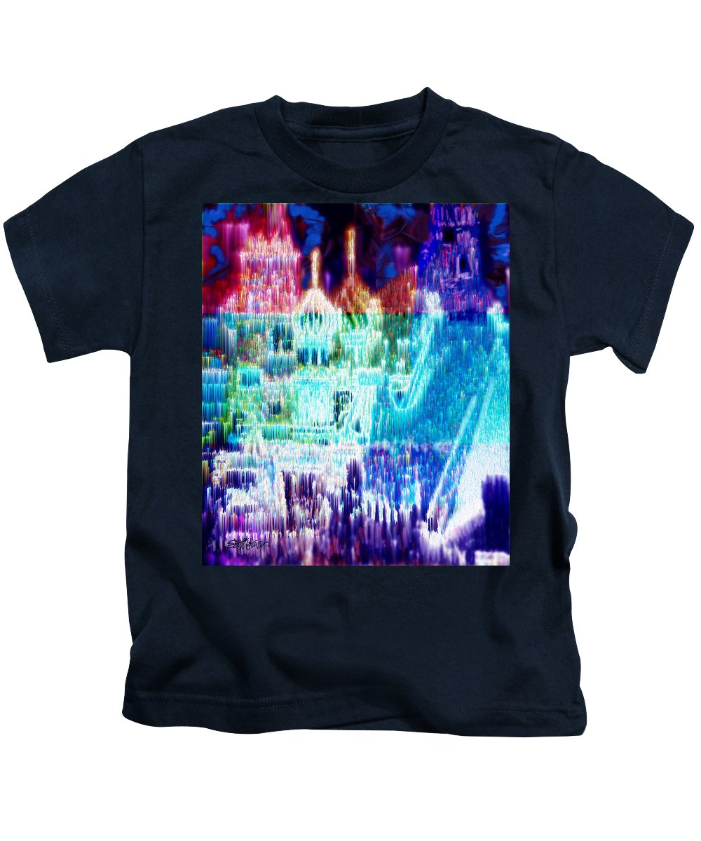 Northern Lights Kids T-Shirt featuring the digital art Crystal City by Seth Weaver