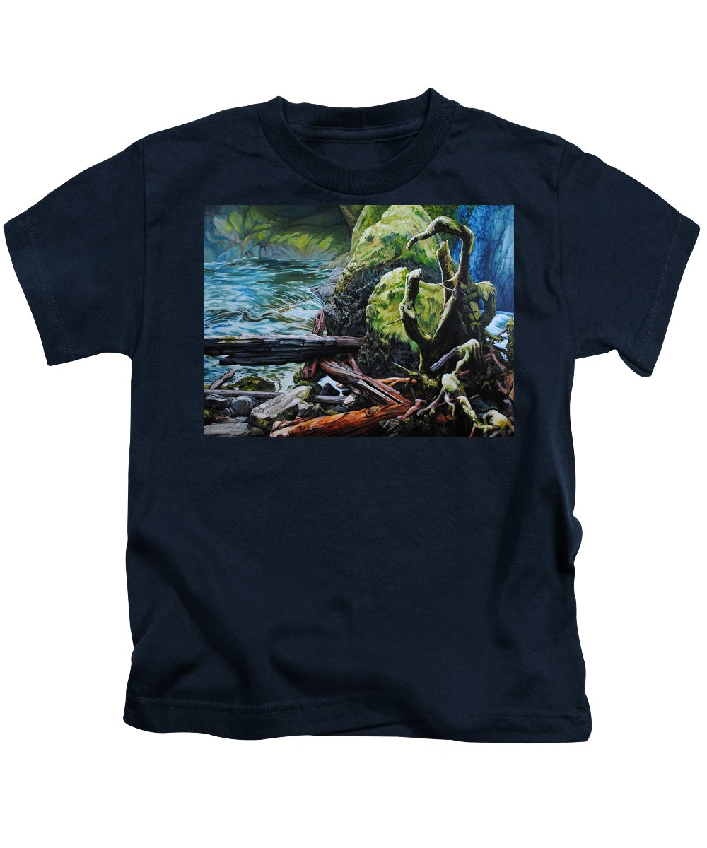 Nature Kids T-Shirt featuring the painting Currents by Chris Steinken