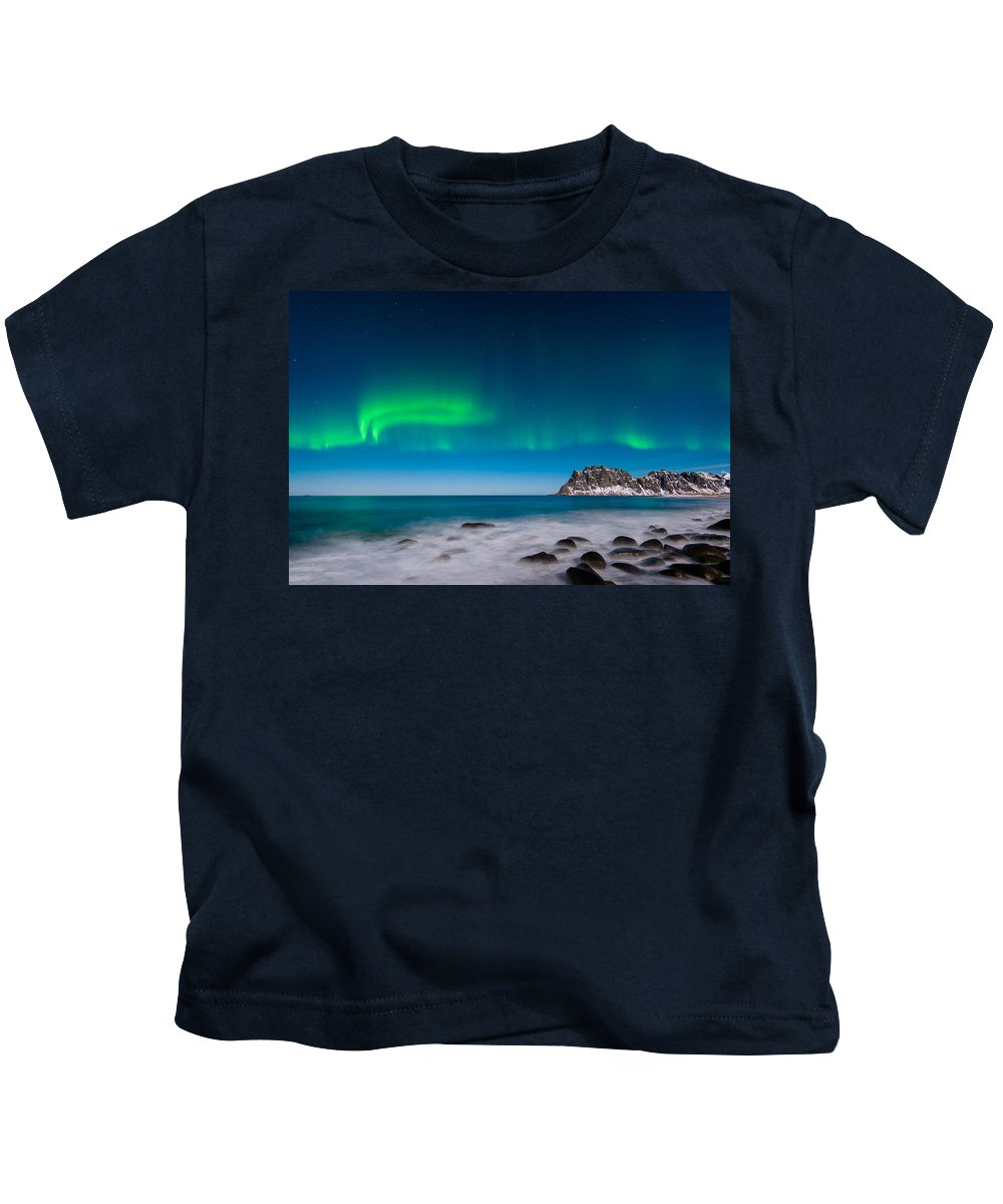 Aurora Kids T-Shirt featuring the photograph Curtains by Michael Blanchette