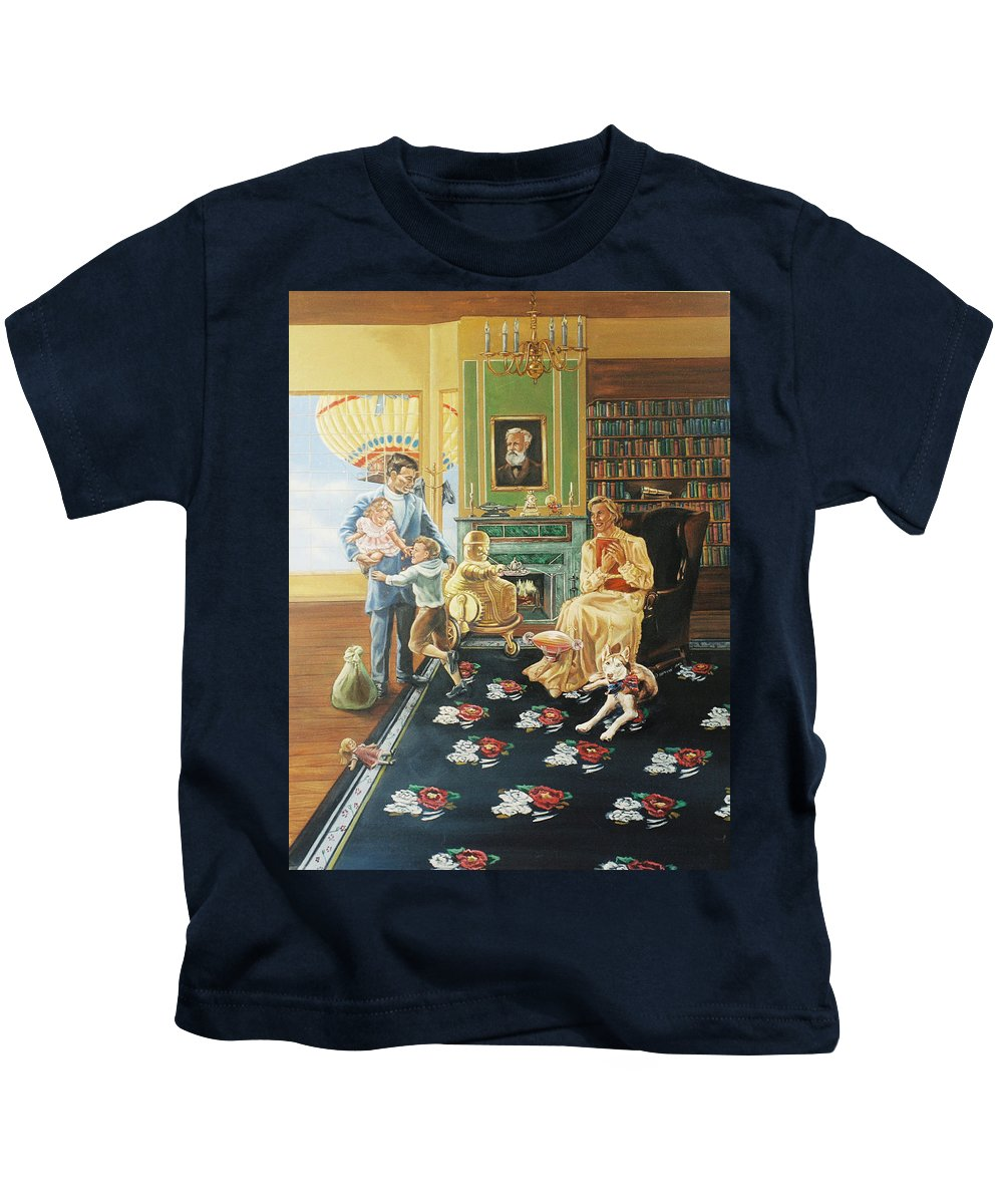Fantasy Kids T-Shirt featuring the painting Daddys Home by Bryan Bustard
