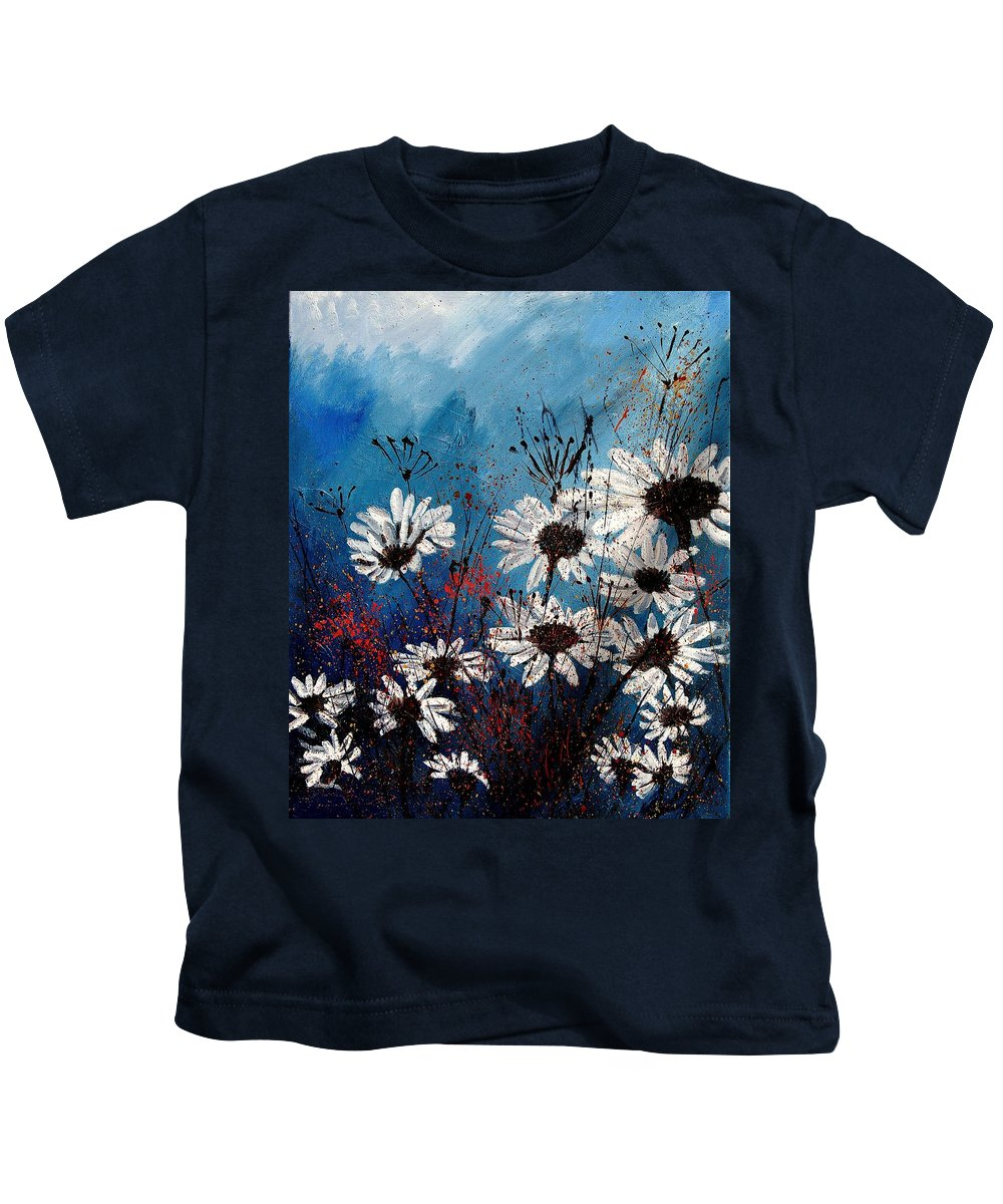 Flowers Kids T-Shirt featuring the painting Daisies 59060 by Pol Ledent