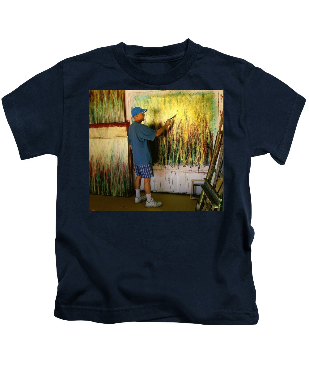 Painter In Studio Kids T-Shirt featuring the painting Dale Painting by Dale Wilhite