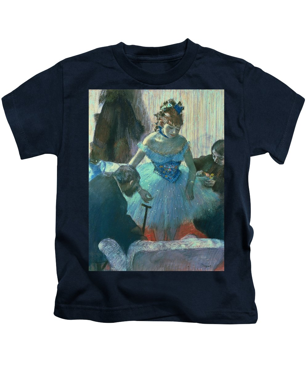Dancer In Her Dressing Room (pastel) By Edgar Degas (1834-1917) Kids T-Shirt featuring the pastel Dancer In Her Dressing Room by Edgar Degas
