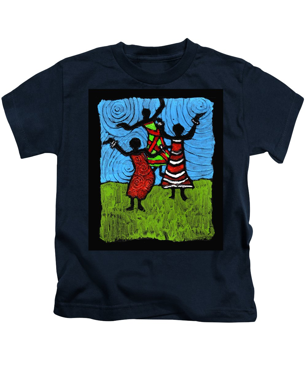 Black Art Kids T-Shirt featuring the painting Dancing So Good I Started To Fly by Wayne Potrafka