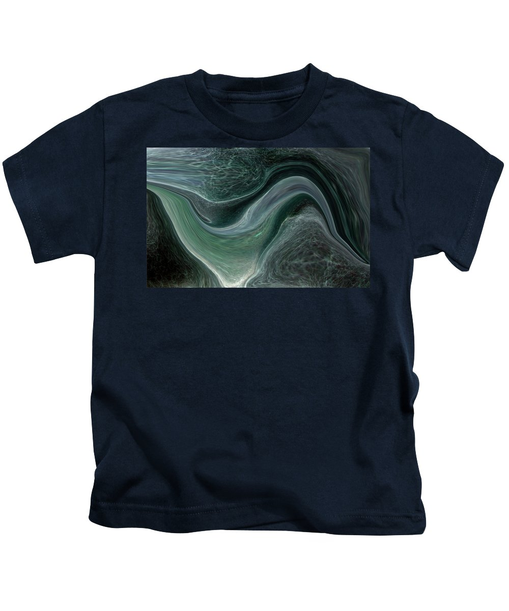 Abstract Kids T-Shirt featuring the photograph Dark Green Flow by Allan Hughes