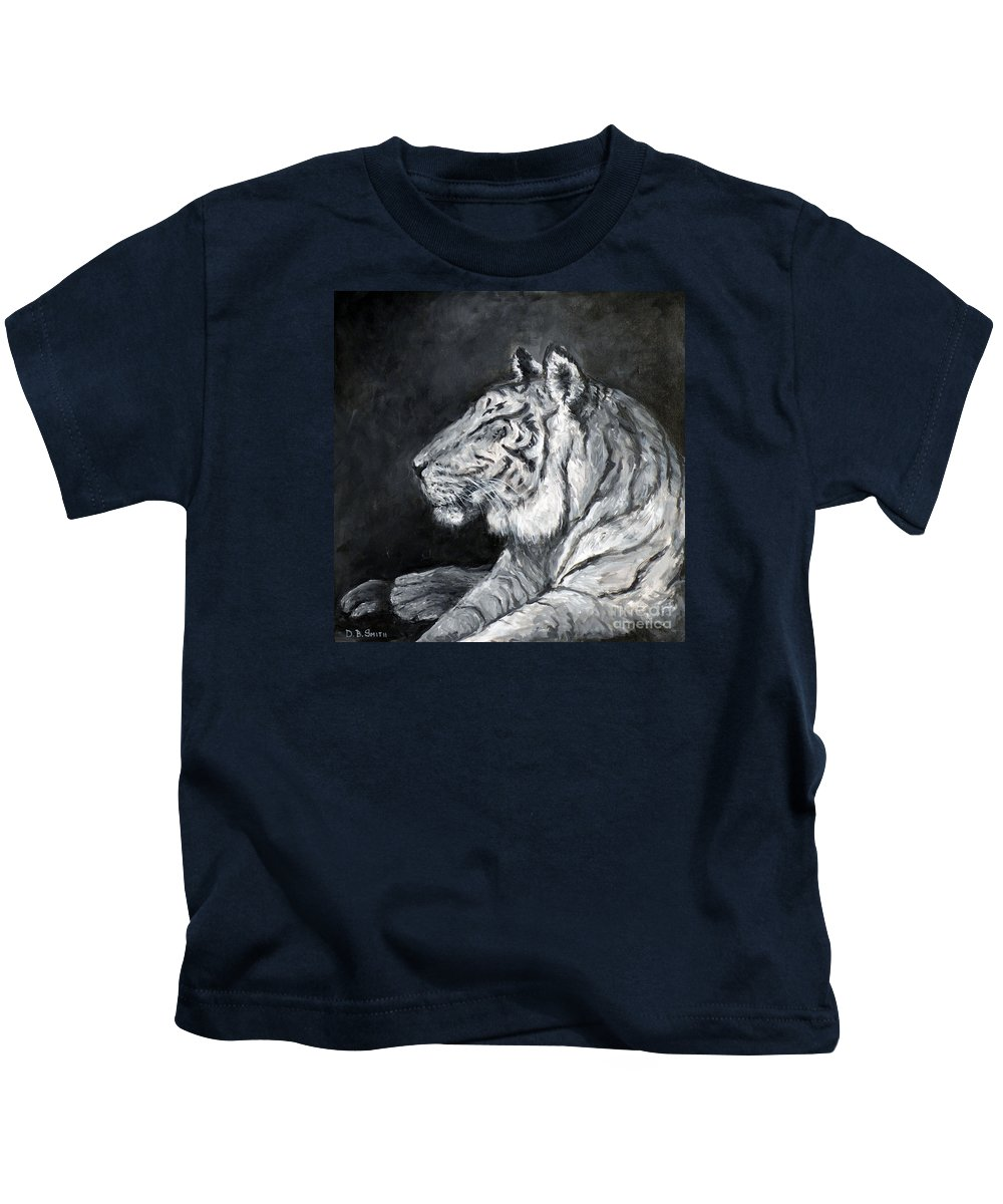Tiger Kids T-Shirt featuring the painting Day Dreamer by Deborah Smith