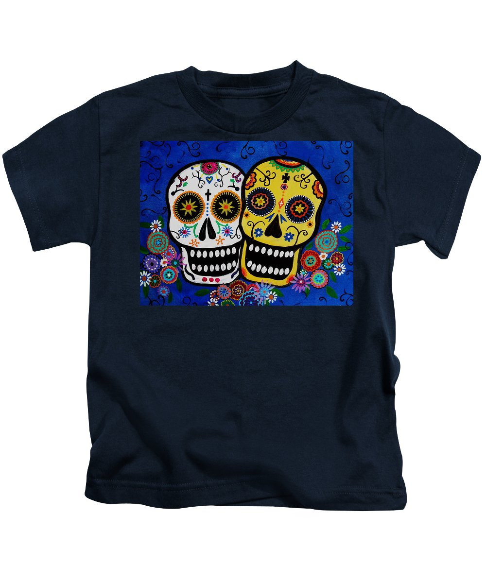 Day Of The Dead Kids T-Shirt featuring the painting Day Of The Dead Sugar by Pristine Cartera Turkus