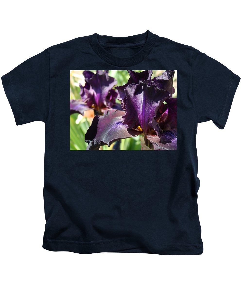 �irises Artwork� Kids T-Shirt featuring the photograph Deep Purple Irises Dark Purple Irises Summer Garden Art Prints by Baslee Troutman