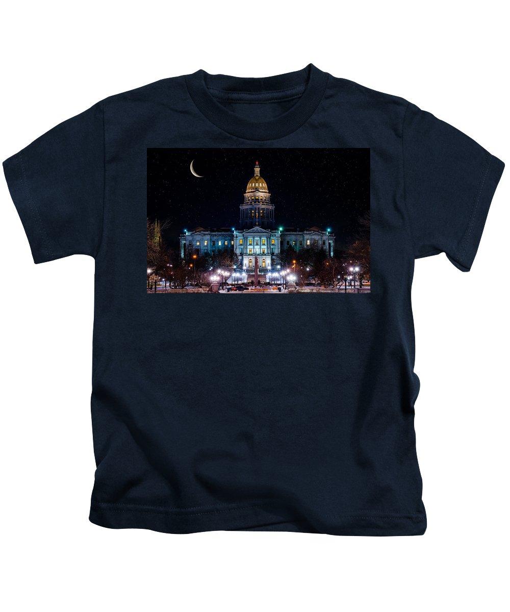 Denver Kids T-Shirt featuring the photograph Denver Capital Nights by Darren White