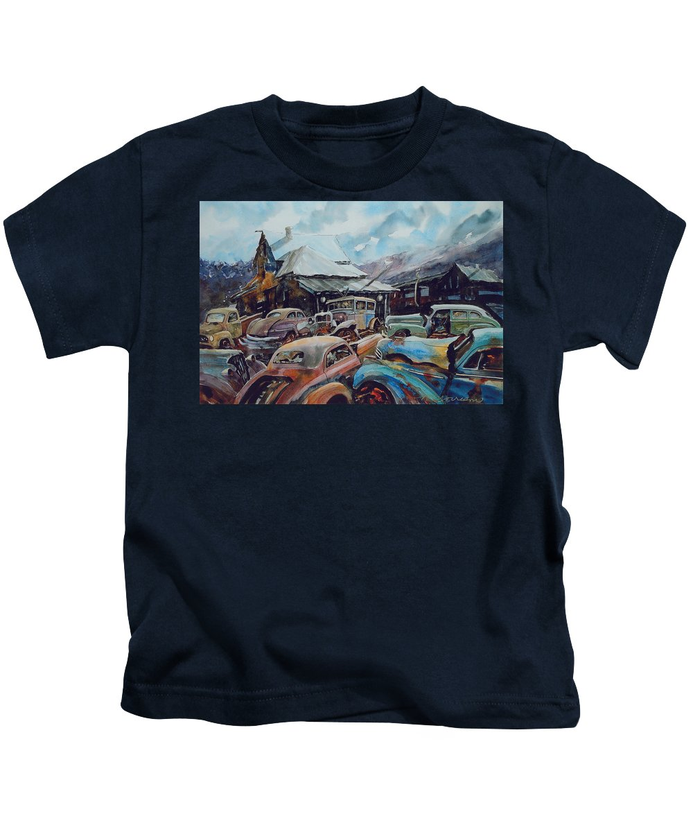 Cars Kids T-Shirt featuring the painting Derelicts at Hillsboro by Ron Morrison
