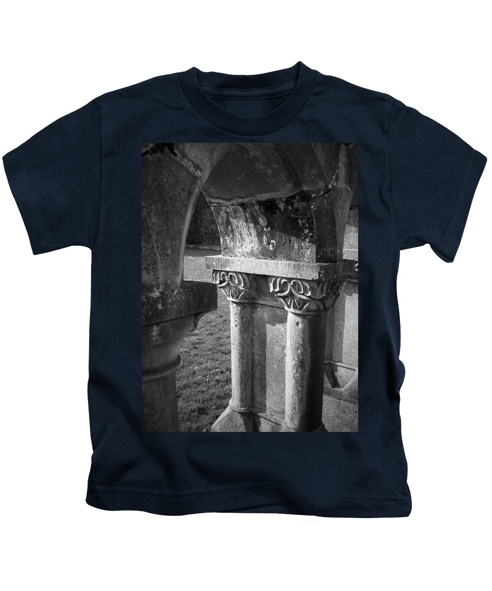 Irish Kids T-Shirt featuring the photograph Detail Of Cloister At Cong Abbey Cong Ireland by Teresa Mucha