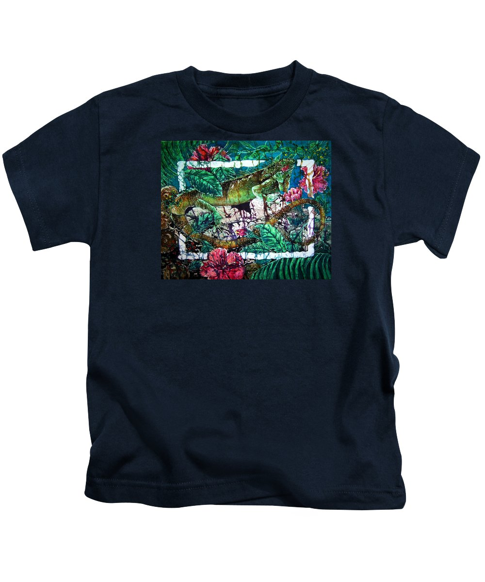 Iguana Kids T-Shirt featuring the painting Dining At The Hibiscus Cafe - Iguana by Sue Duda