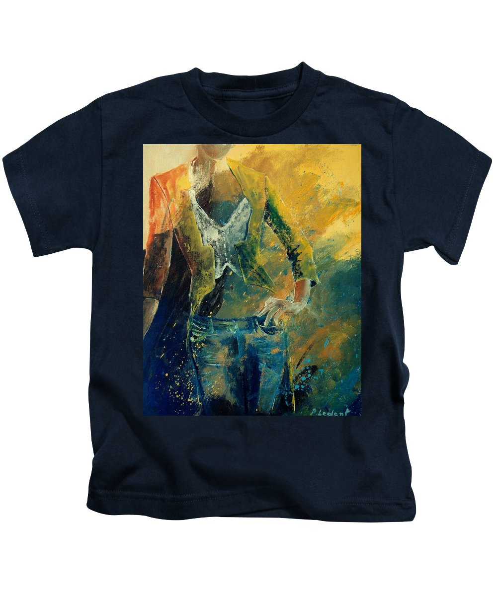 Woman Girl Fashion Kids T-Shirt featuring the painting Dinner Jacket by Pol Ledent