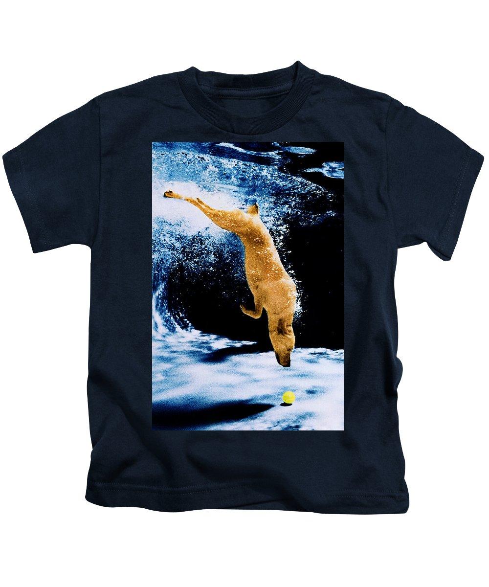 Pet Kids T-Shirt featuring the photograph Diving Dog Underwater by Jill Reger