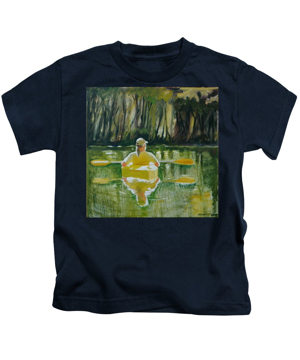 Kayak Kids T-Shirt featuring the painting Dix River Redux by Laura Lee Cundiff