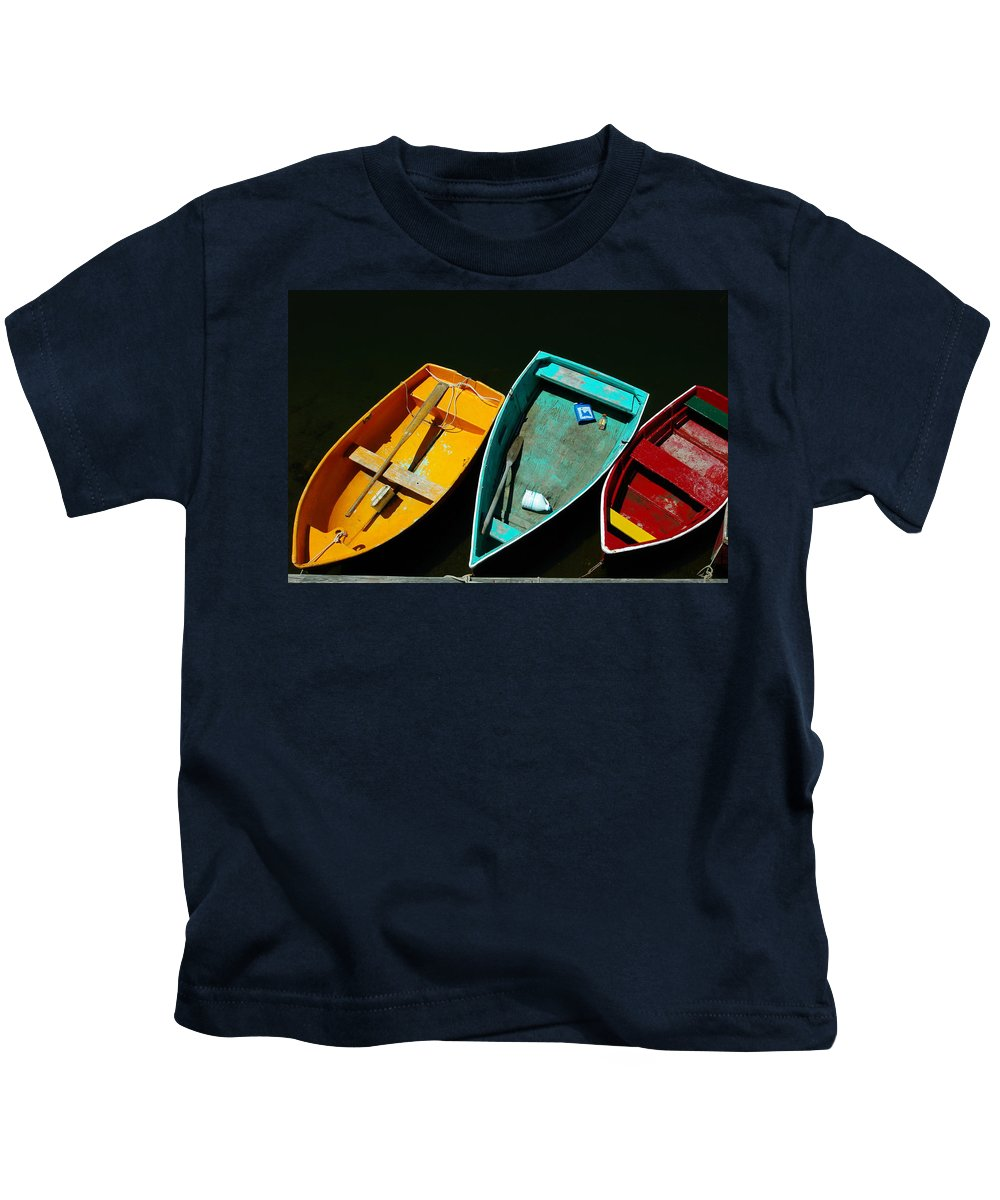 Landscape Nautical Row Boat New England Rockport Kids T-Shirt featuring the photograph Dnre0603 by Henry Butz