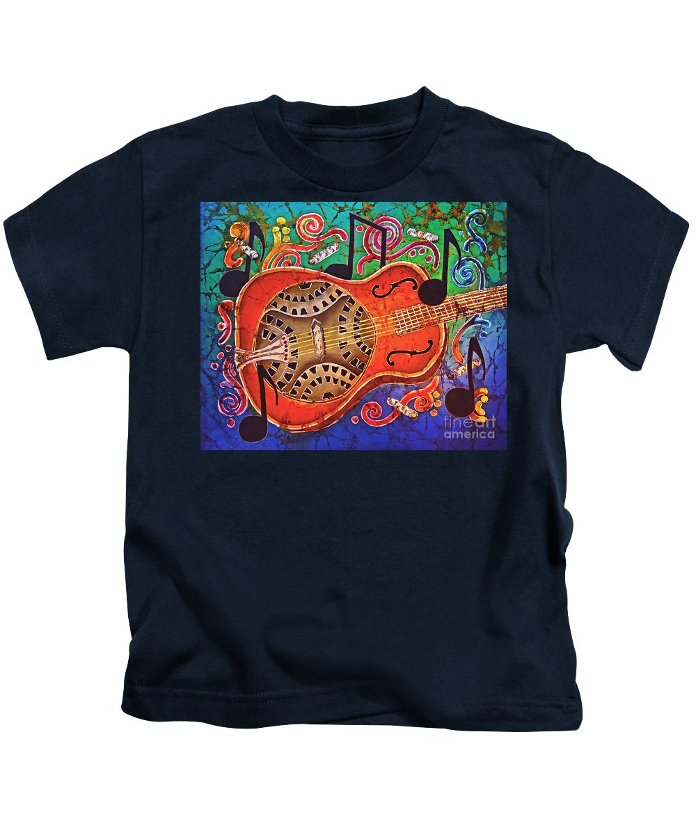 Dobro Kids T-Shirt featuring the tapestry - textile Dobro - Slide Guitar by Sue Duda
