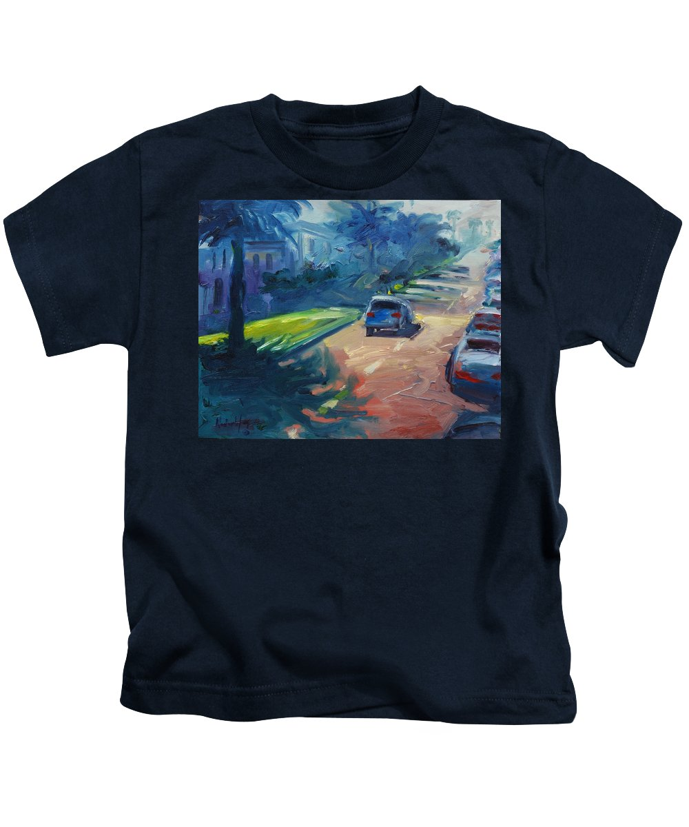 Cityscape Kids T-Shirt featuring the painting Dolores Street by Rick Nederlof