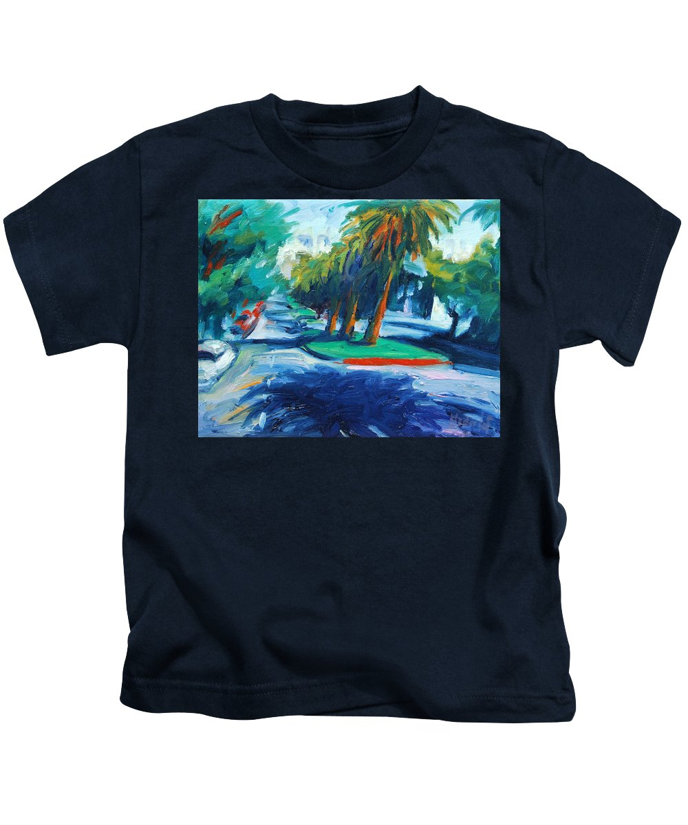 San Francisco Kids T-Shirt featuring the painting Downhill by Rick Nederlof