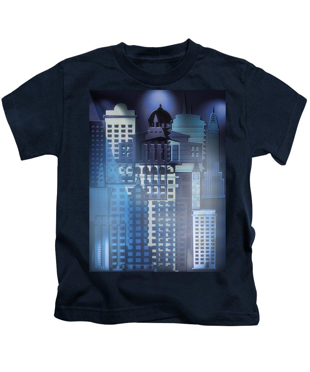 City Kids T-Shirt featuring the digital art Downtown Abstract - Blue Mist by Steve Ohlsen