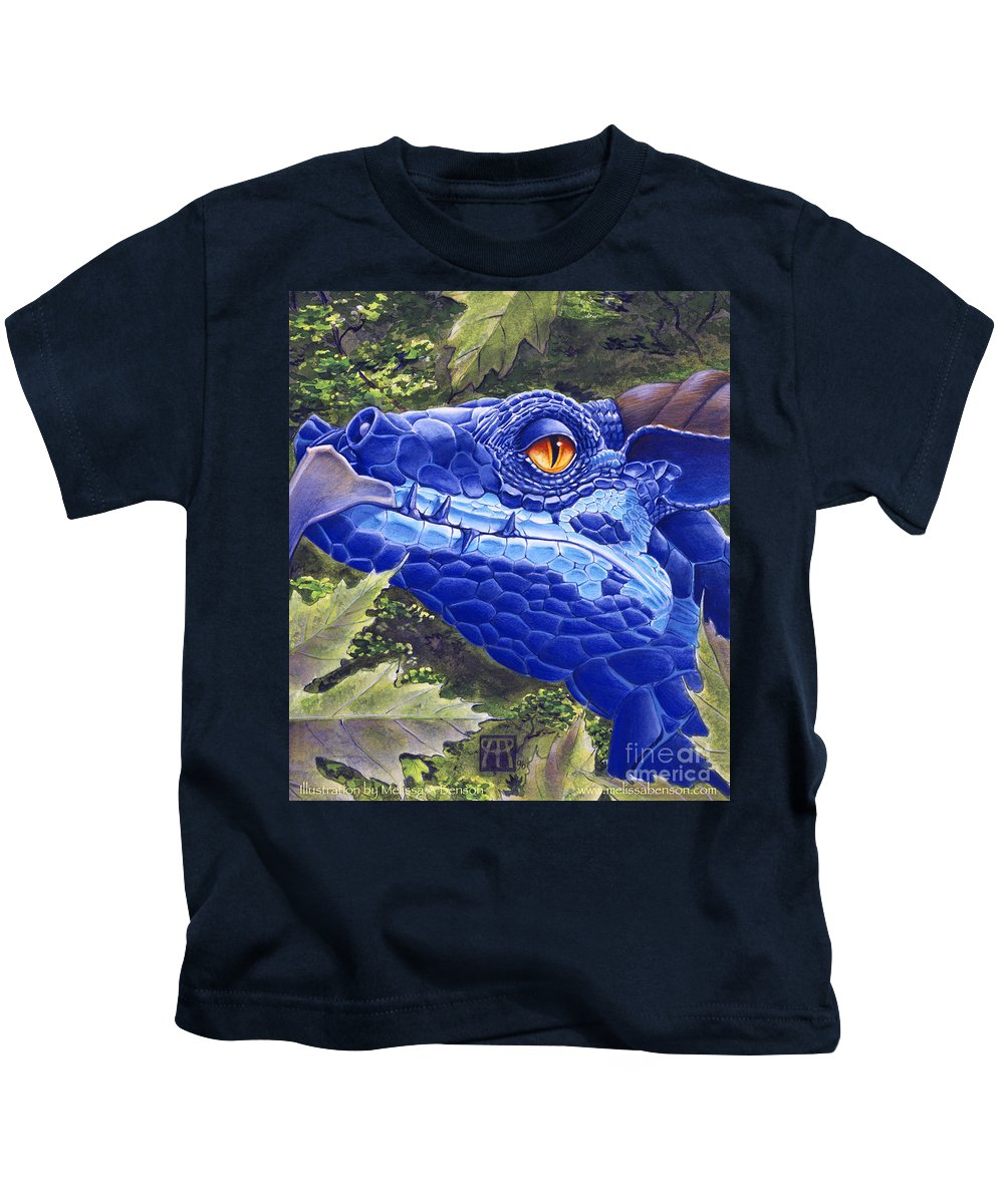 Dragon Kids T-Shirt featuring the painting Dragon Eyes by Melissa A Benson