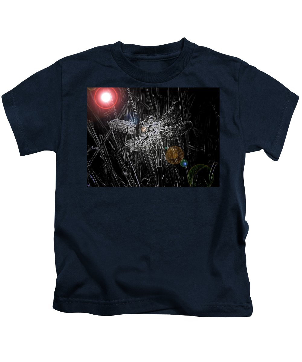 Dragonfly Art Kids T-Shirt featuring the digital art Dragonfly by Bob Kemp