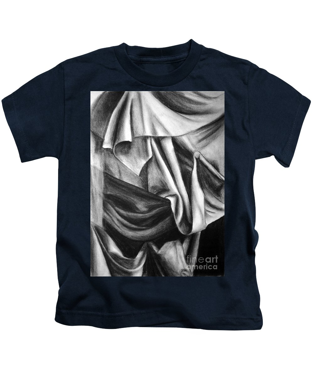 Charcoal Kids T-Shirt featuring the drawing Drapery Still Life by Nancy Mueller
