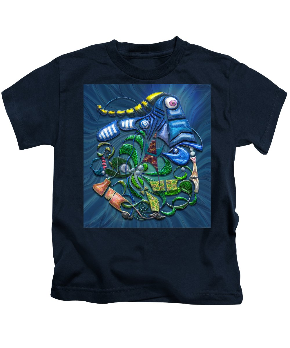 Blue Kids T-Shirt featuring the digital art Dreaming With The Fishes by Mark Sellers