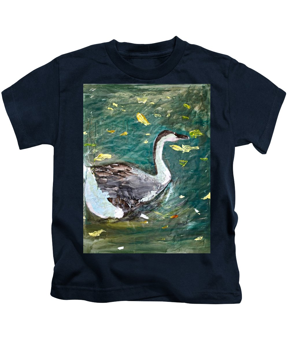 Duck Kids T-Shirt featuring the painting Duck by Michelle De Villiers