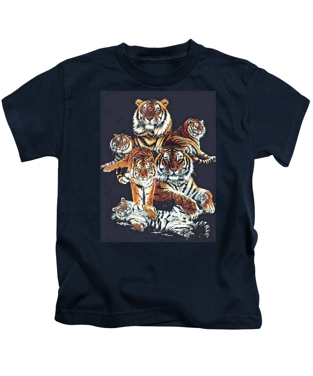Tiger Kids T-Shirt featuring the drawing Dynasty by Barbara Keith
