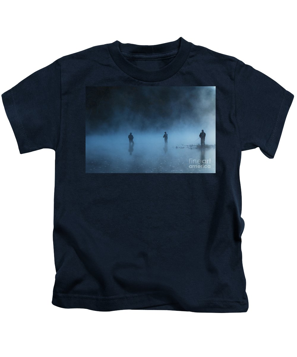 Tamyra Ayles Kids T-Shirt featuring the photograph Early Morning Fishing by Tamyra Ayles