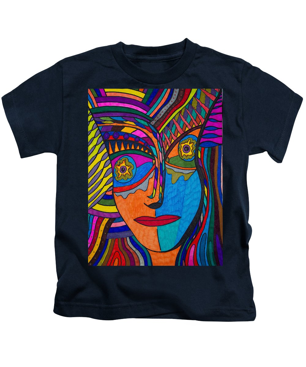 Earth And Aqua Mask Kids T-Shirt featuring the painting Earth And Aqua Mask - Abstract Face by Marie Jamieson