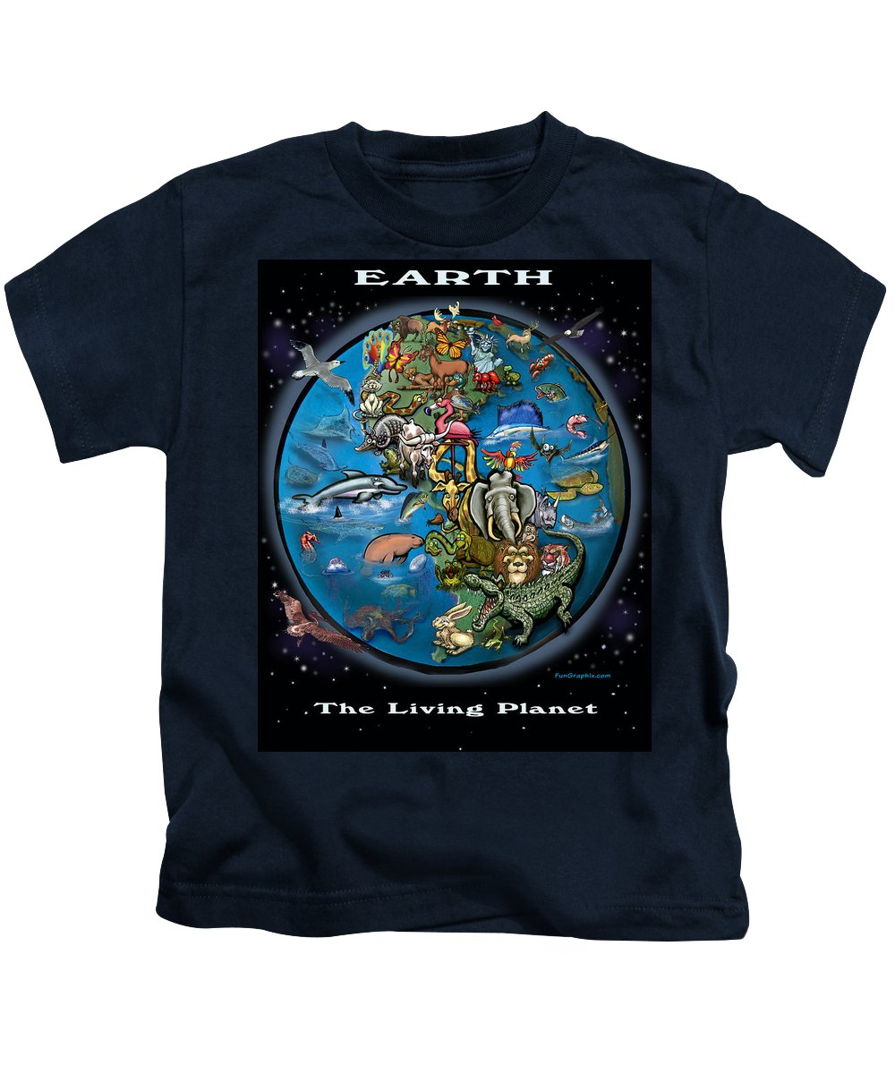 Earth Kids T-Shirt featuring the painting Earth by Kevin Middleton