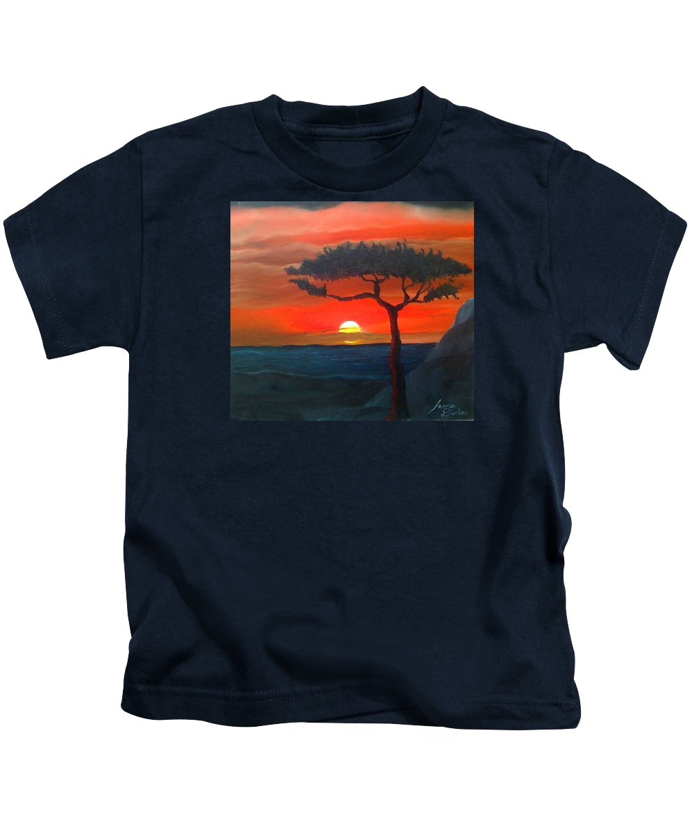 Africa! Kids T-Shirt featuring the painting East African Sunset by Portland Art Creations