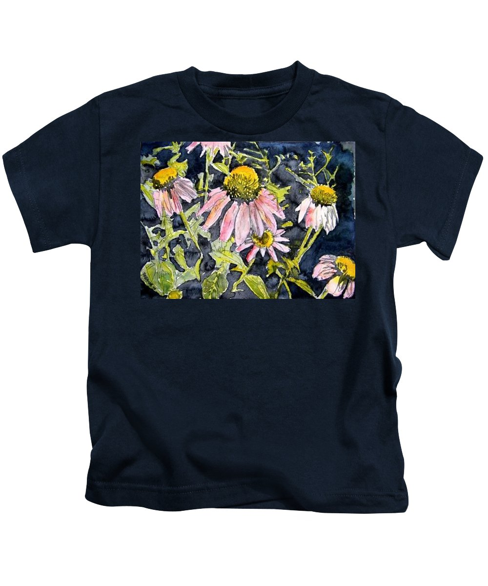 Echinacea Kids T-Shirt featuring the painting Echinacea Coneflower 2 by Derek Mccrea