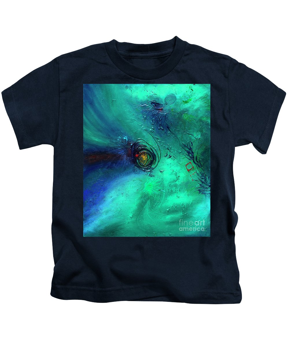 Kids T-Shirt featuring the painting Eclipse by Pink Plumbus
