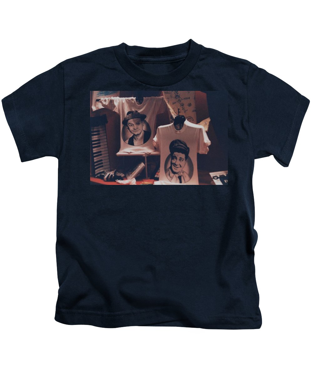 The Honeymooners Kids T-Shirt featuring the photograph Ed And Ralphie Boy by Rob Hans